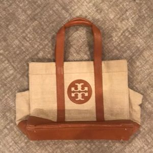 Lined canvas and leather Tory Burch tote bag.